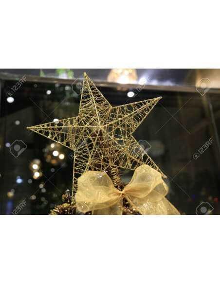 Estrella de Árbol Navideño de Alambre Dorado Pequeño.  Hogar