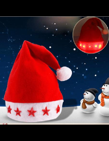 Gorro de Navidad con luces LED DOCENA.  Navidad