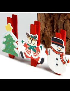 Clips Madera Motivo Navidad.