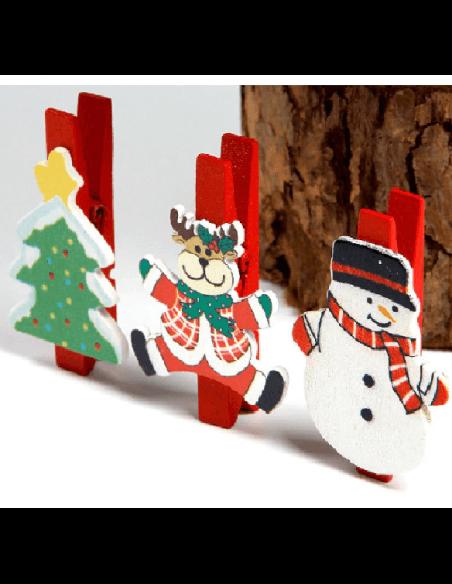 Clips Madera Motivo Navidad.  Especiales