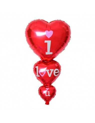 GLOBO TRES CORAZONES I LOVE YOU importado Dia de los Enamorados