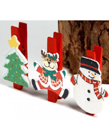 Clips Madera Motivo Navidad.  Navidad