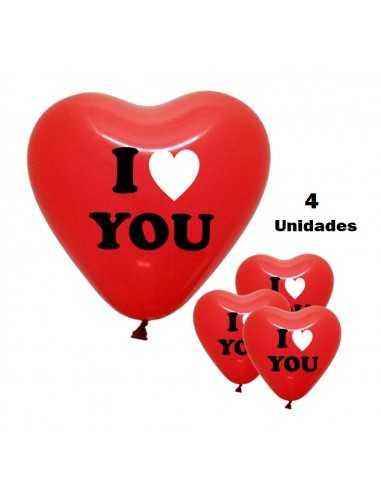 GLOBOS CORAZONI LOVE YOU ( 4 UNI ) importado Dia de los Enamorados
